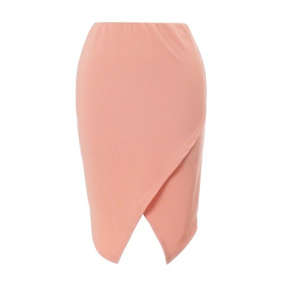 Price DropPeach V Cut Midi Skirt #427-PL Peach v cute midi skirt. 95% Polyester 5% Spandex. Hand wash, Made in USA. Elastic waist. Measurements: waist 30-32. BLVD Skirts Midi