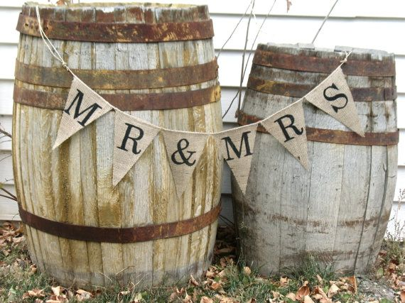 MR & MRS burlap banner Wedding photo prop cake table by atcompanyb
