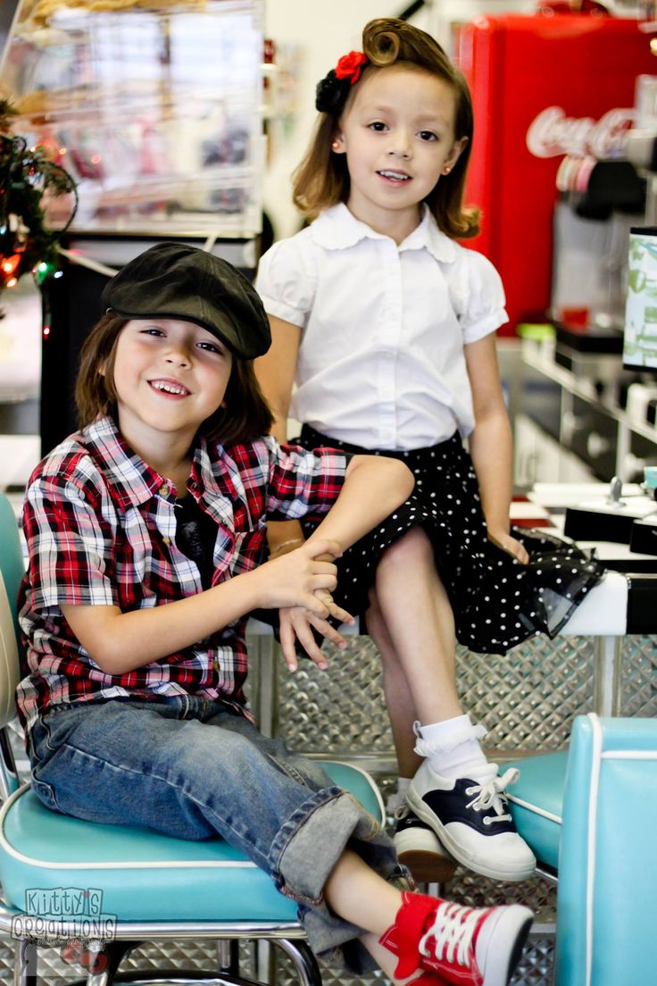Rockabilly Vintage Kids Photo Shoot Idea. Children's Photography. Cute Pinup Diner theme. By: Kitty's Creations El Paso, TX
