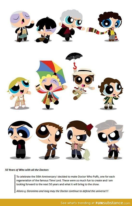 Power Puff meets Dr. Who!!! But wait...... TWELVE????? I didn't hear about
