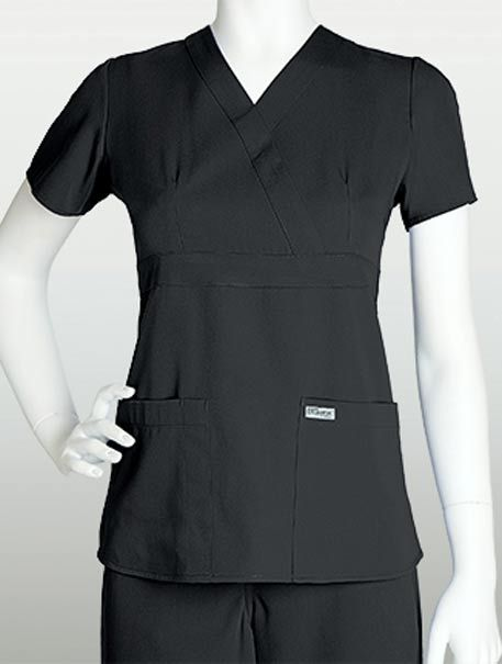 MetroUniforms.com #GreysAnatomJunior3PocketMockWrapTopBackTabs