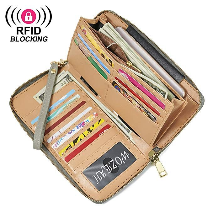 031366db6fe2 WOZEAH Women's RFID Blocking PU Leather Zip Around Wallet Clutch ...