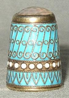 Norwegian sterling silver thimble with applied wire cloisonné ...