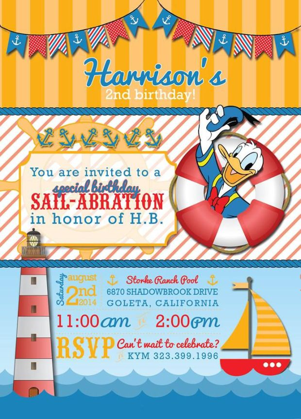 Donald Duck Nautical themed birthday party invitation