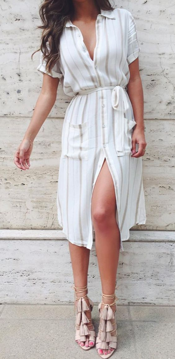 Shirt dress tasseled heels.: Needs a few more buttons done up....but nice linen dress