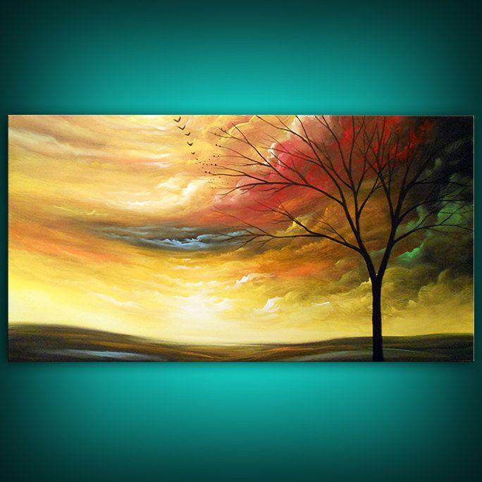 art abstract Original painting art original acrylic painting stars painting cloud tree sunset 24 x 48 Mattsart. $325.00, via Etsy.