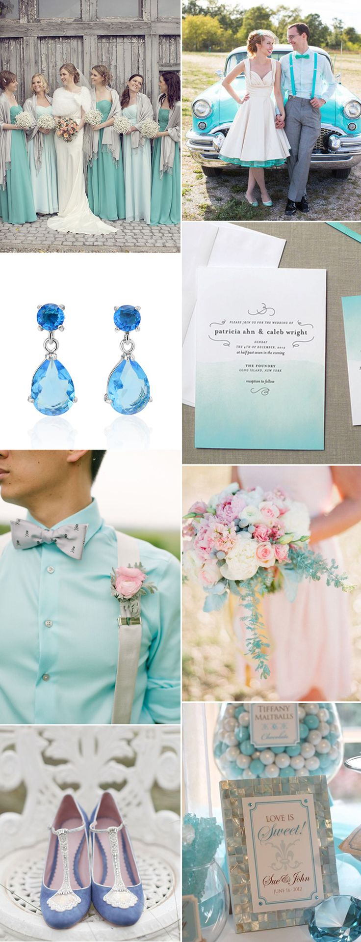 Inspiration board with ideas on how to incorporate the beautiful March birthstone, Aquamarine, into your wedding theme. From the groom to the decor we love this hue