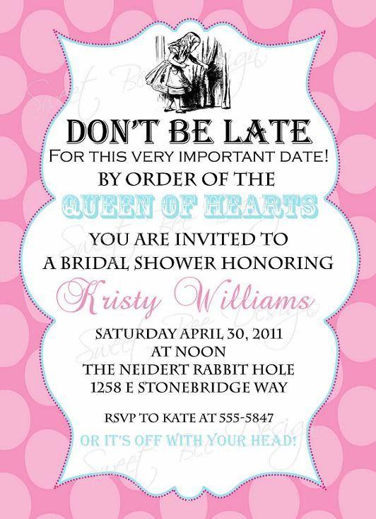 Alice In Wonderland Bridal Invitation by SweetBeeDesignShoppe