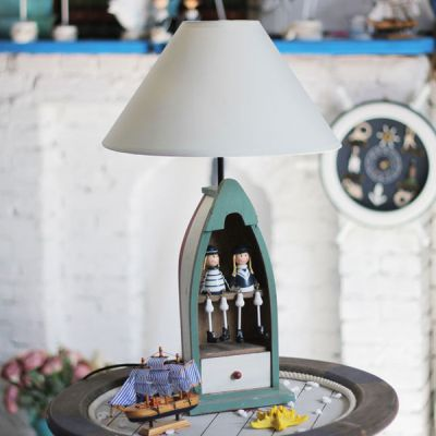 The Mediterranean-style Table lamp Bedside Lamp Ocean Series Boats Creative Children's Room Study Room Lamp