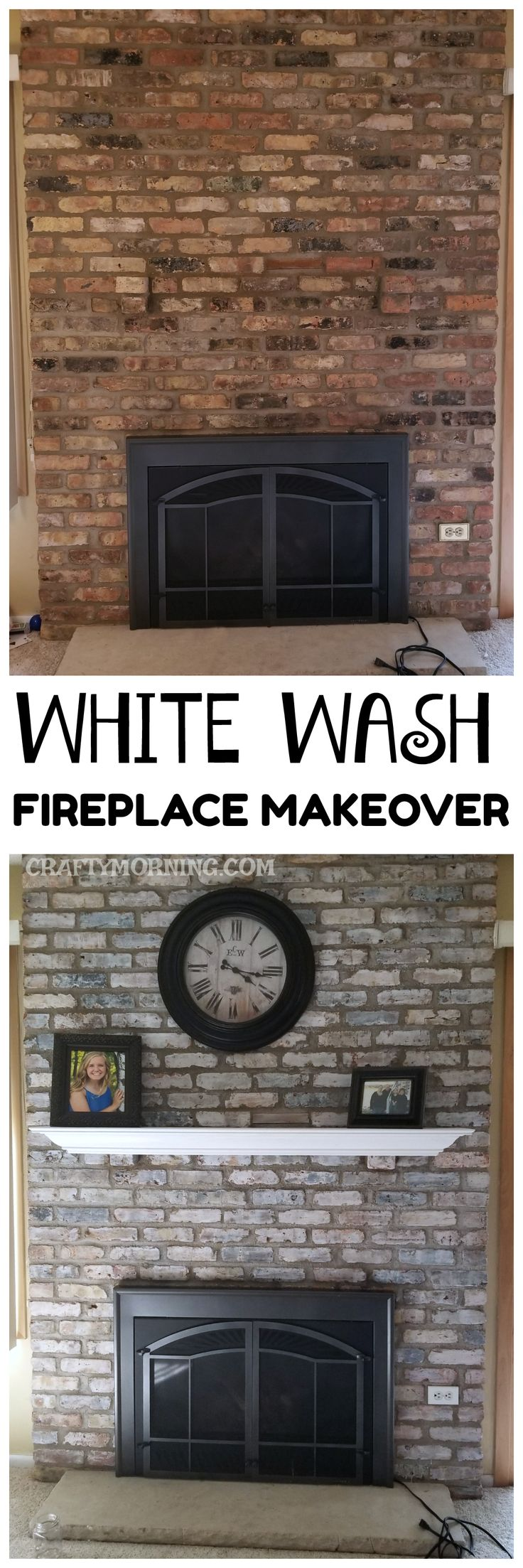 How to white wash a brick fireplace - beautiful makeover on a budget that cost $11!!!