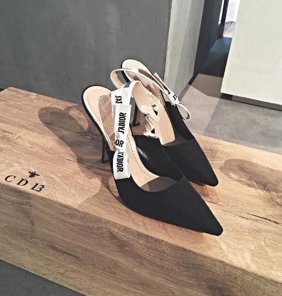 Maria Grazia Chiuri's J'ADIOR sling-back kitten heels from her debut collection for Dior.