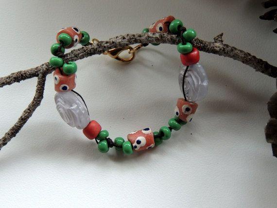 beaded blue pink green braceletglass beads3 by Homeforglasslovers, $20.00