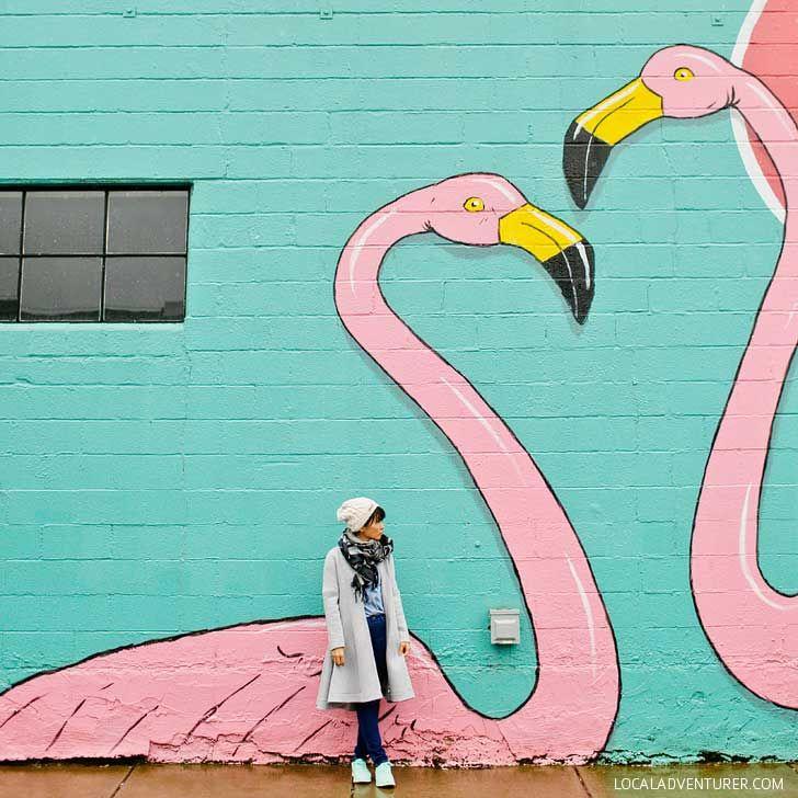 Flamingos at Pie Spot Portland Oregon + Guide to the Best Murals in Portland Oregon // localadventurer.com 521 NE 24th Ave, Portland, OR 97232
