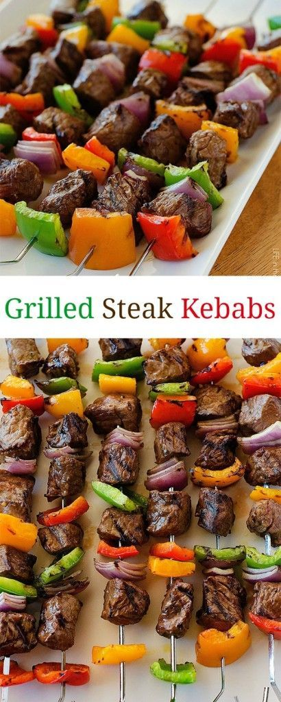 These steak kebabs are amazing! Packed with flavor from the simple marinade. A mustmake for grilling season!