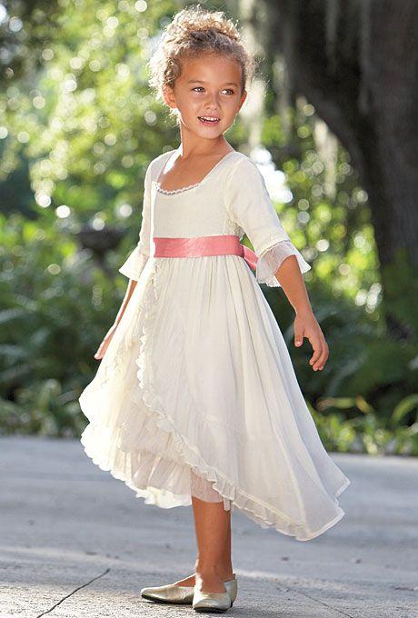 Brides.com: Flower Girl Dresses for a Summer Wedding Fairy-tale chiffon flower girl dress, $199, Chasing Fireflies  See more white flower girl dresses.Photo: Courtesy of Chasing Fireflies