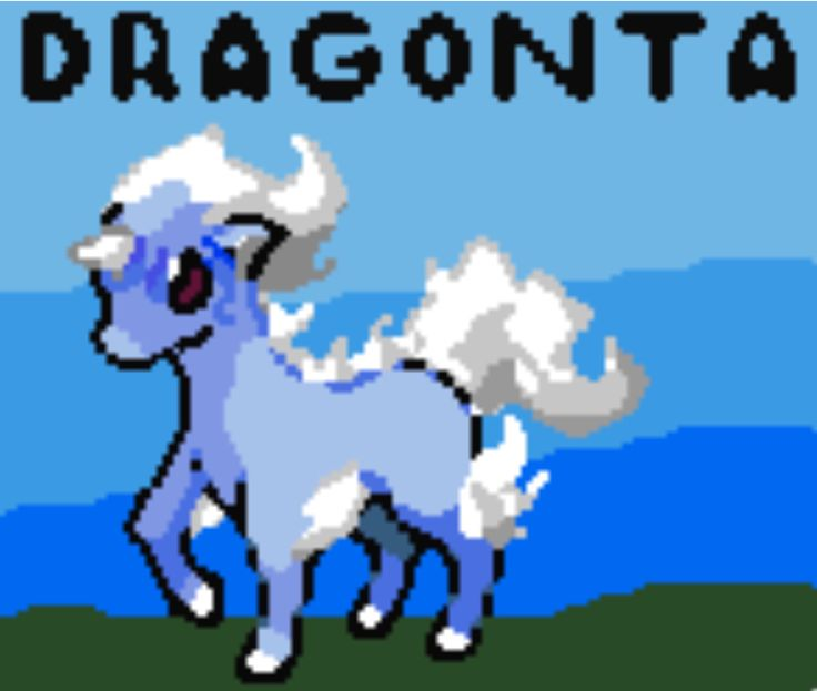 Made a Pokemon fusion in pixel form of Ponyta and Dragonair and I think it turned out really great.