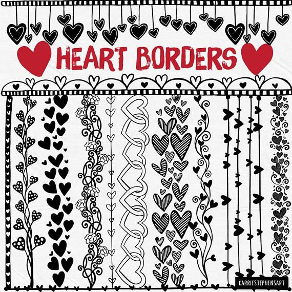 Line Heart Border Clipart Heart Digital Stamps Printable Border Png Valentine Heart Graphic Download Line Art Doodle Collage Stencil Heart Doodle Heart Border Heart Clip Art