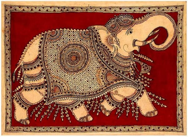 Kalamkari - hand-painted or block-printed cotton textile, -India and in Iran.In ancient - groups of singers, musicians, painters, called chitrakattis, - tell the village dwellers, stories of Hindu mythology. -they illustrated their accounts with rudimentary means and dyes extracted from plants.  Hindu temples large panels of Kalamkari depicting the episodes of Indian mythology, akin to the stained glasses of the Christian cathedrals.