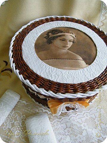 Поделка изделие Декупаж Плетение Шкатулочки  Бумага Клей Салфетки Трубочки бумажные фото 13