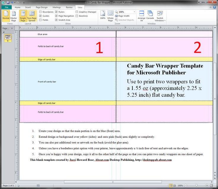 Blank Candy Wrapper Templates for Microsoft Publisher 2010