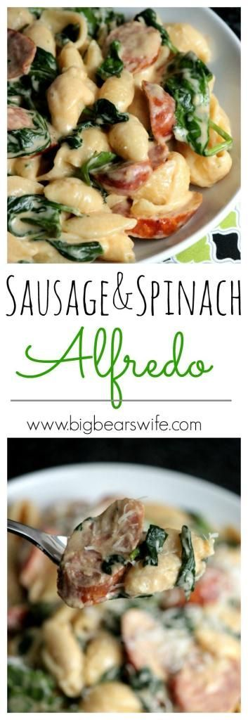 Sausage and Spinach Alfredo- make this recipe with Johnsonville Andouille Sausage!