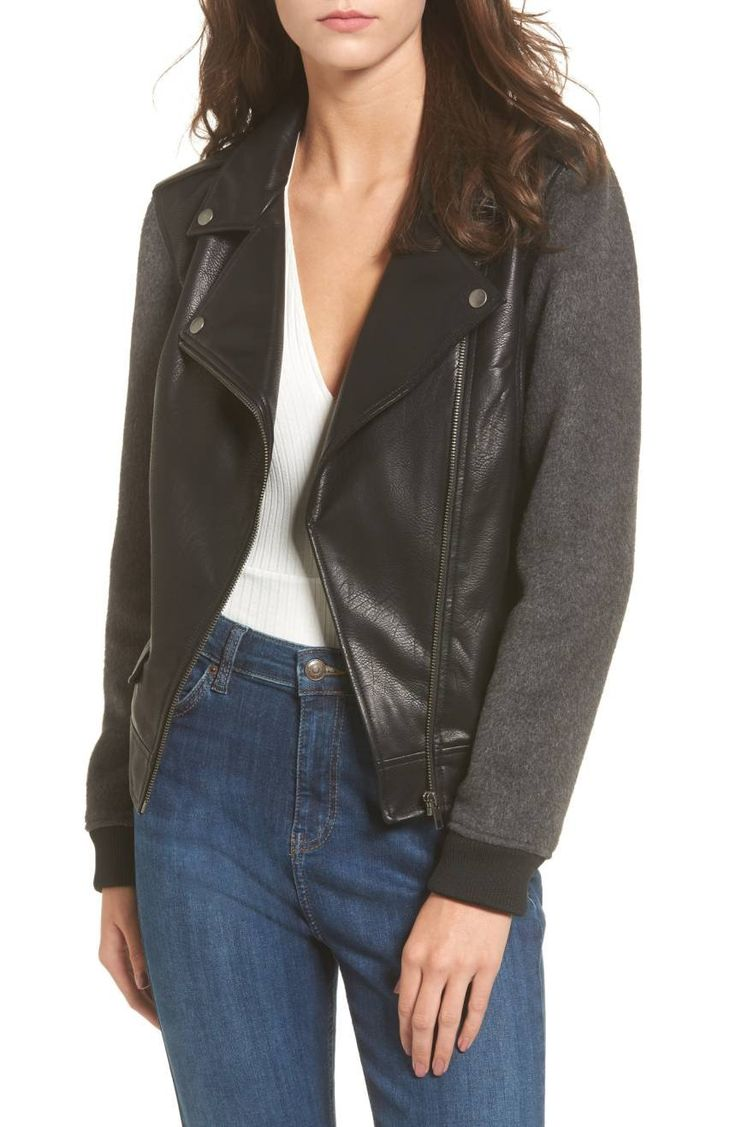 The perfect marriage between your favorite moto jacket and a vintage varsity jacket, this mixed-media jacket is a little bit sporty, a little bit sassy.