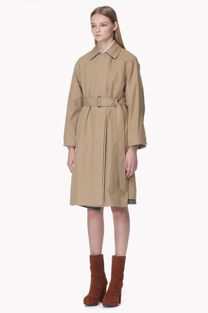 Twofold front trench coat