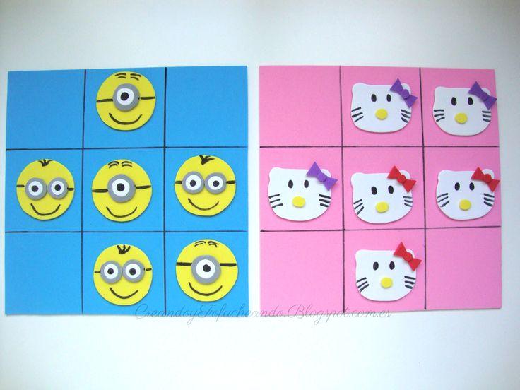 3 en raya Minions y Hello Kitty en goma eva #gomaeva #manualidadesparaninos #3enrayagomaeva