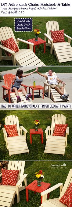 DIY: Free Adirondack Chair Woodworking Plan - Cost only $45 to make this Five Piece Adirondack Furniture Set! Would be great for lounging this Spring! @savedbyloves #BringInSpring