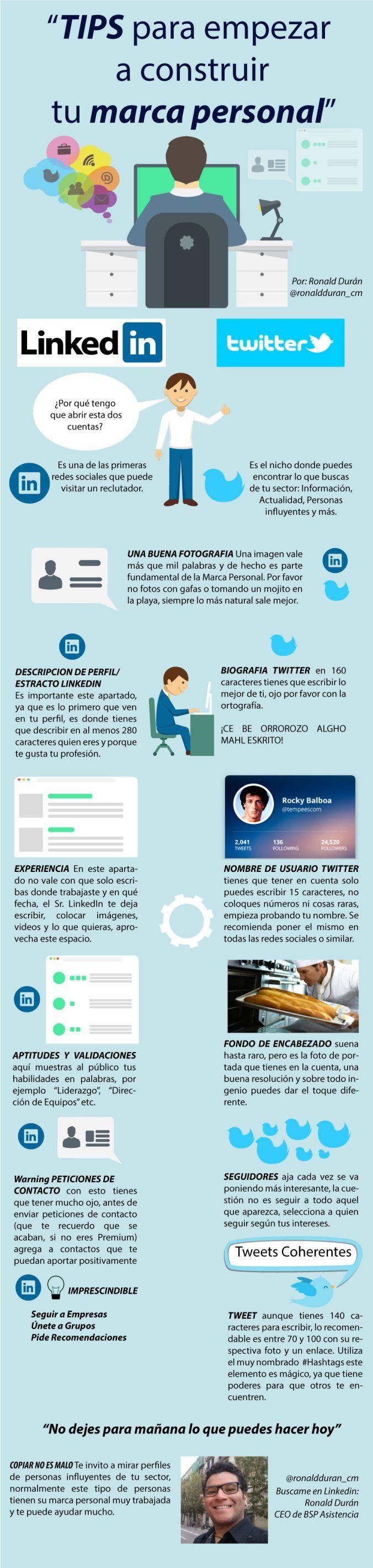 Hola: Una infografía sobre consejos para construir tu Marca Personal. Vía Un saludo