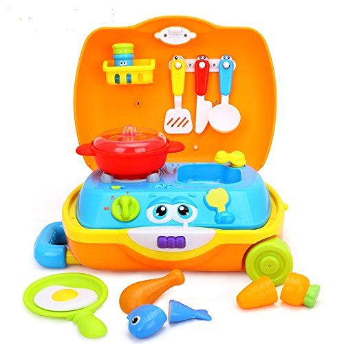 little Chef kids Cooking set toy for toddlers encased in a suitcase for boys and girls with music and sounds kitchen set includes play chefs toys Stove Utensils Plates Toy meals Cuttable food -- Be sure to check out this awesome product.