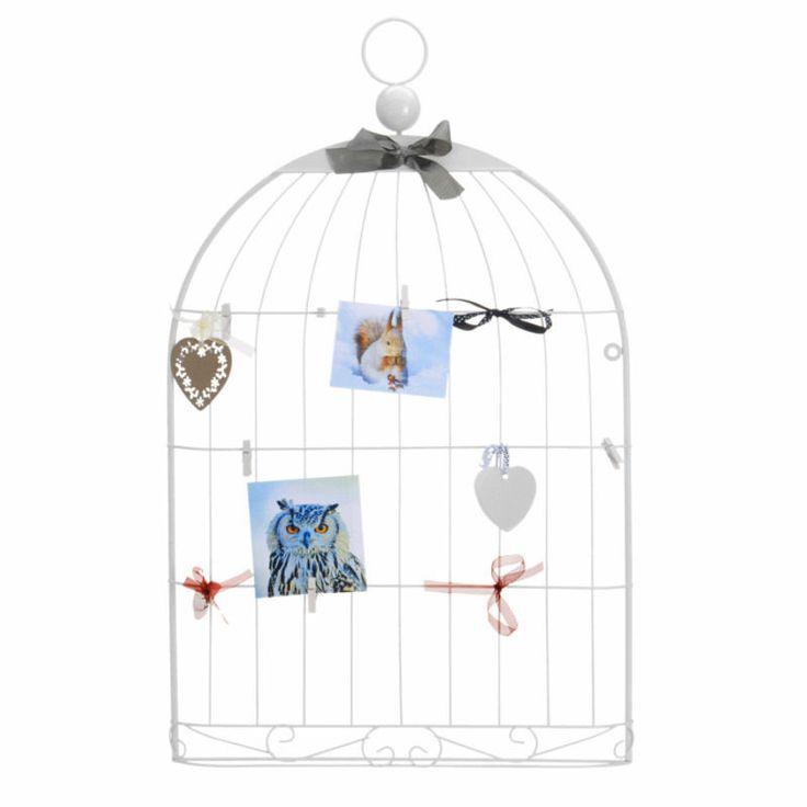 Porte Bijoux Présentoir Porte Photos 'Cage à Oiseaux' Blanc avec Pinces + Cœurs