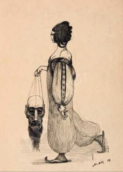 """Alfred Kubin, """"Judith with the Head of Holofernes,"""" 1904, Pen and ink over pencil,"""