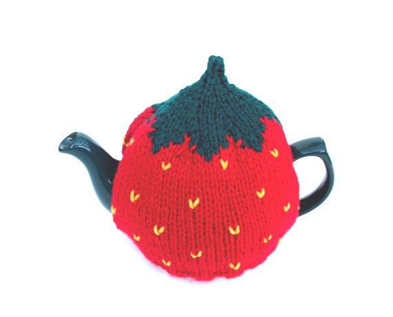 Strawberry tea cosy handknitted  to fit a medium by madmumknitsStrawberries Teas, 1200, Knits Teas Cosy Pattern, Cosy Handknit, Cosy Strawberries, Cozy Cosy, Knits Strawberries, 12 00, Strawberries Knits