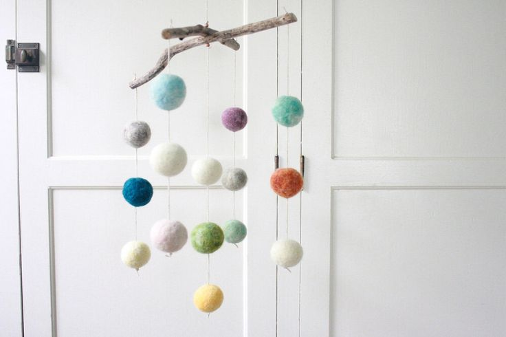 Colorful Felt Ball Mobile, Baby Mobile, Minimalist Nursery, Muted Nursery Decor by sheepcreekstudio on Etsy https://www.etsy.com/listing/210784988/colorful-felt-ball-mobile-baby-mobile