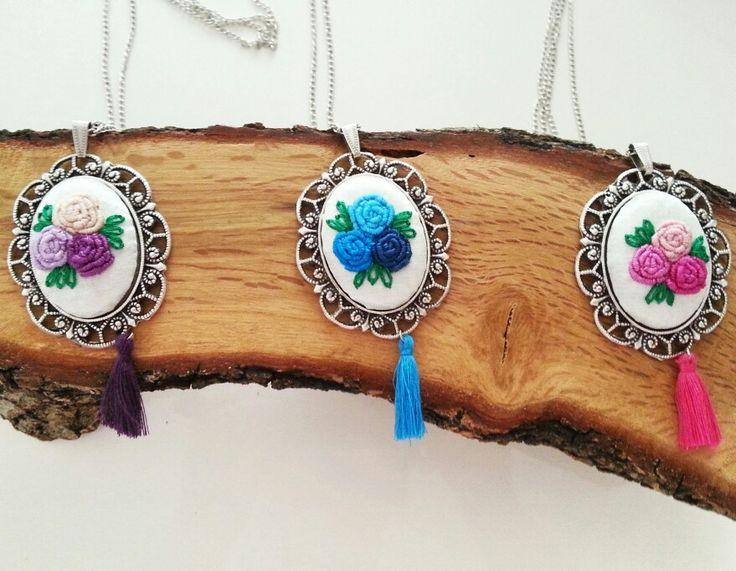 Kanaviçe brezilya nakisi kolye-rokoko,gül, rose, pink, pembe, mavi, blue, purple, mor
