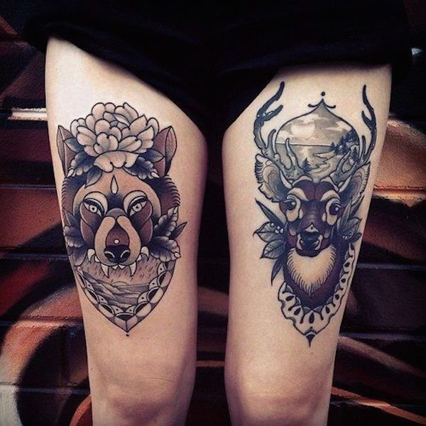 Tatuagem na Coxa Feminina | lobo e cervo em oldschool