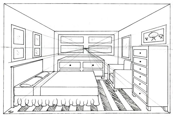 One point perspective bedroom drawing home for Online drawing room