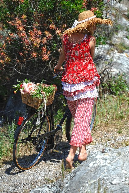 Red Floral layered tunic and striped crop pants with floral cuffs