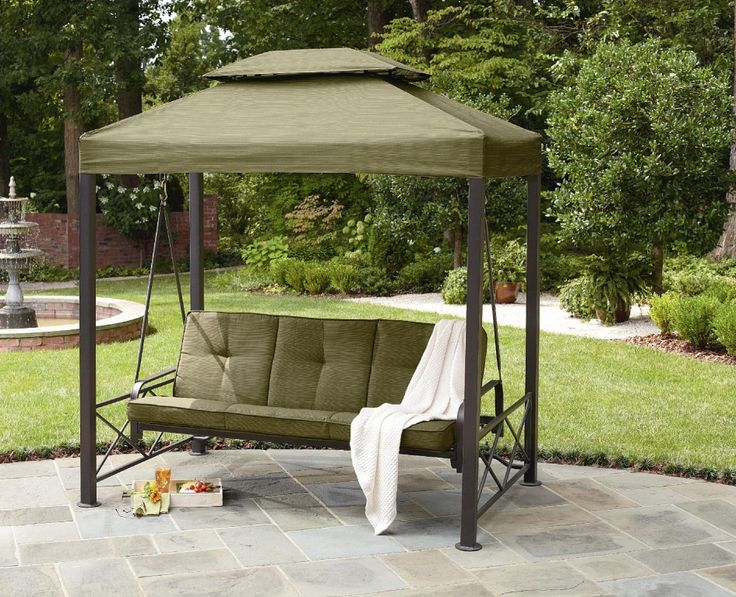 Outdoor Winning Gazebo Patio Swing Green Polyester Canopy Bronze Steel Frame Three Person Seater Green Comfy Seat Cushion And Padded Backrest Outdoor Backyard Furniture Ideas Comfortable Patio Swing With Canopy