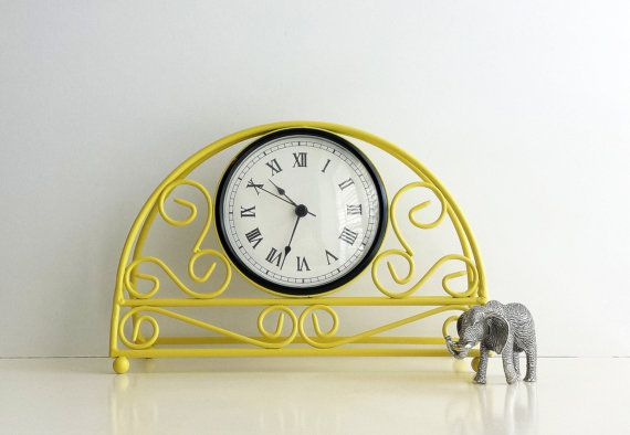 Yellow Mantel Clock Table Clock Desk Kitchen by CurrentClassic