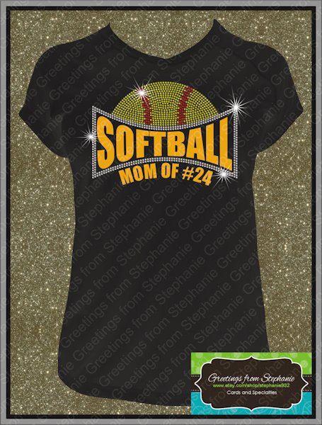 Softball Mom Grandma Sister etc. Rhinestone Tshirt by stephanie932