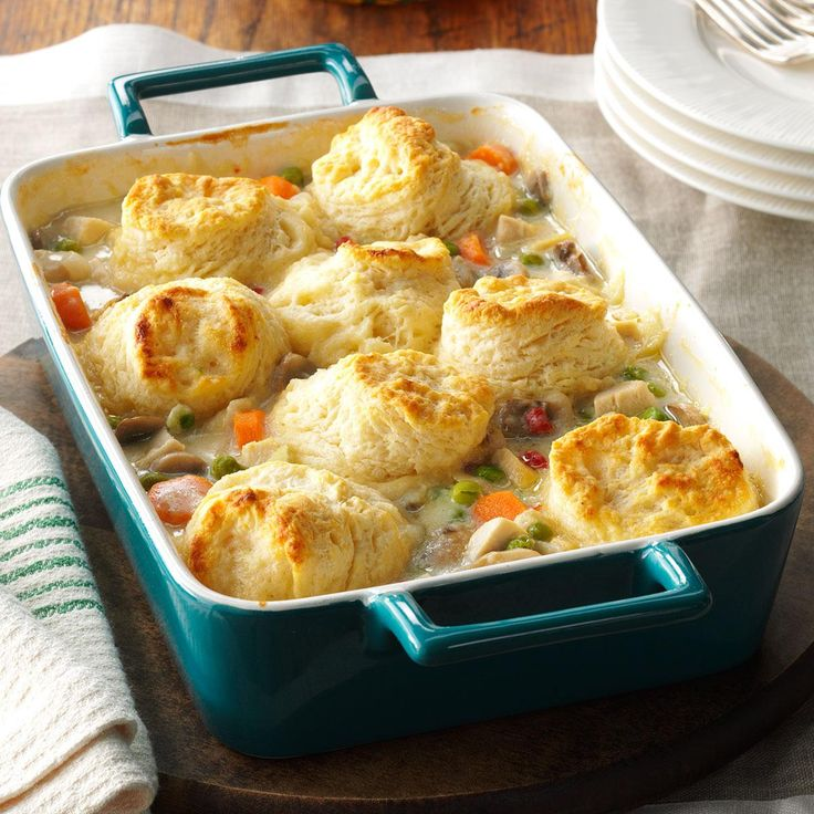 Chicken Potpie Casserole Recipe -I always have leftover chicken broth on hand and use it for many things, including this comforting family favorite. You can bake your own biscuits, like I do, or buy them at the store. I like to bake extra biscuits to eat with butter and jam. —Liliane Jahnke, Cypress, Texas