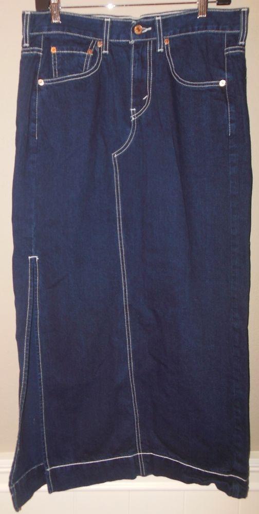 LEVIS Sz 8 Maxi Skirt Dark Wash Blue Denim Long Modest Side Slit Contrast Stitch #Levis #Maxi