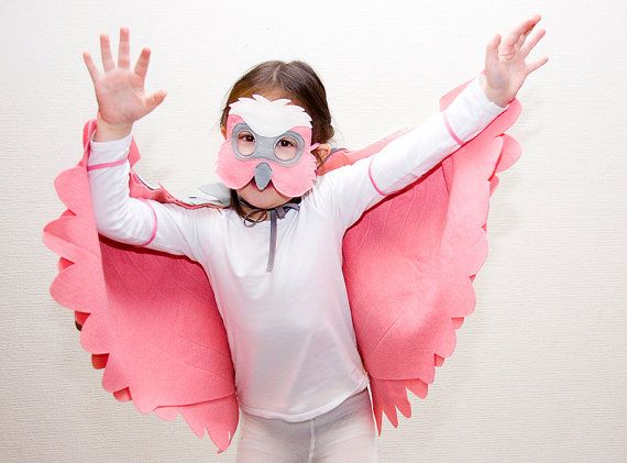 Childrens Bird Costume Pink Galah Parrot Wings and by BHBKidstyle