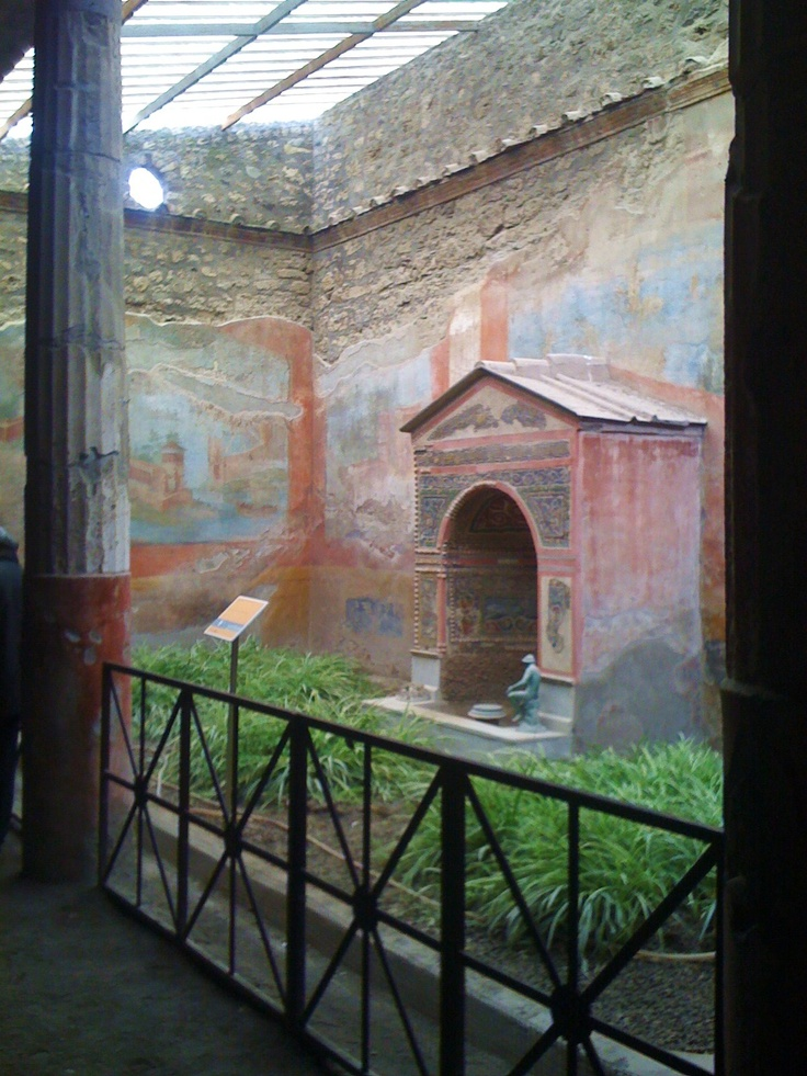 Ancient Pompeii, Italy courtyard preserved since 79 A.D.