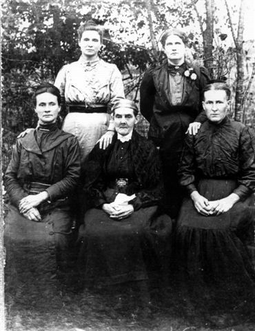 This is my great-grandfather, William Henry Sherrod's sister, Mary Sherrod Bowman Bowman Flowers Bradbury.  Her four daughters are Amanda Ann Forrest Bowman Harvill.  Laura Caroline Bowman Allen Lewis. Back Row left to right: Fanny Green Bowman Moore, Sarah Alice Bowman Dupriest. The picture is the property of Sonseehray (Soni) Allen LaPee , gg-grandaughter of Mary.