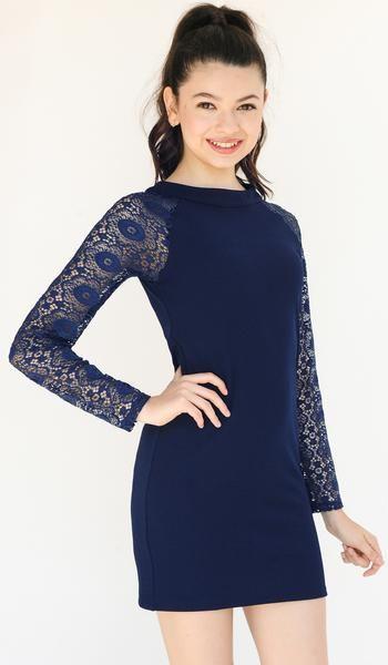 navy stretch knit bodycon dress with navy sheer crochet long