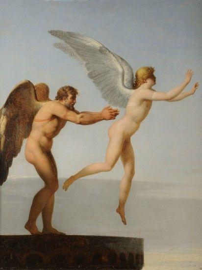 'Dédalo e Ícaro' (1799), óleo del pintor y crítico de arte Charles-Paul Landon incluida en la muestra 'Schönheit und Revolution' ('Belleza y revolución'), en el museo Städel de Frankfurt