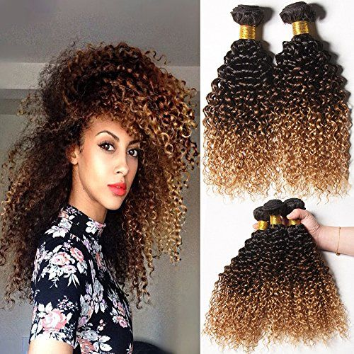 Morningsilkwig 1 Bundle Grade 6A Tissage Naturels-Chocolat-Blonde Boucles Crepus Bresilien Cheveux 12 Pouces Vierges Kinky Curly Cheveux…